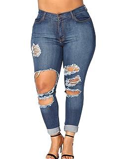 b2d3af56ca32 Femme Grande Taille Denim Pantalons Taille Haute Jeans Skinny Leggings Casual  Déchiré Pants