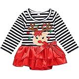 POLP niño Navidad Niña Vestido de Mameluco de Manga Larga con Estampado de Cervatillo para bebé Infantil Trajes de Navidad Ro