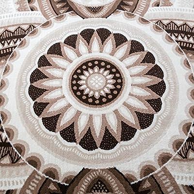 Teppich für Wohnzimmer mit Glitzergarn Abstrakt Ornamente Beige Braun Creme