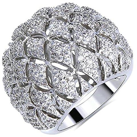 18k Vergoldet Ringe, Damen Versprechen Ringe Hohl Knospe Form mit Zirkon Gr.58(18.5) Epinki