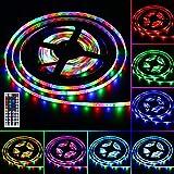 LED Licht Streifen , 5M RGB LED Streifen Stripes Bänder, LED Lichtband Hintergrundbeleuchtung mit 44 Tasten IR Fernbedienung IP65 Wasserdicht für Küche, Terrasse, Balkon, Party und Haus Deko