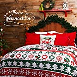 BEDSURE Weihnachten Tagesdecke 220 x 240 cm Couch Sofa Überwurf für Kinder Wohnzimmer und Schlafzimmer - Gesteppte Bettüberwurf mit Schicke Rot & Grün Muster