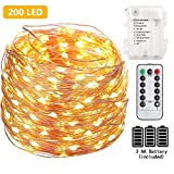 FSTgo 200 LED String Light AA Battery Powered Fairy Light with Remote Control 66ft 20M Indoor and Outdoor Starry Light Waterproof String Lights for Christmas Tree Garden Wedding Party
