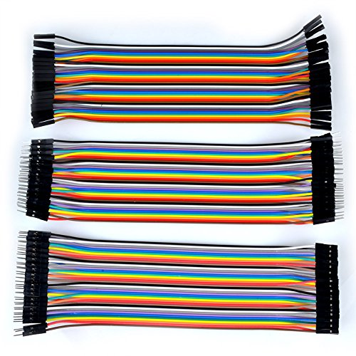 Kuman K45D 120pcs Multicolored 40pin Male to Female, 40pin Male to Male, 40pin Female to Female Breadboard Jumper Wires Ribbon Cables Kit pack