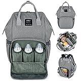 UPGRADED VERSION-UTO Wickeltasche Multi-Funktion Große Kapazität Wasserdichte Reiserucksack Windel Taschen für Baby-Pflege Stilvolle Durable Outdoor-Rucksack Grau