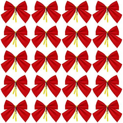 WILLBOND 144 Pezzi Mini Alberi di Natale Fiocchi di Velluto Rosso Fiocchi Natale Albero Nodo Occhiello Ornamenti per Albero di Natale Appeso Forniture Decorazione