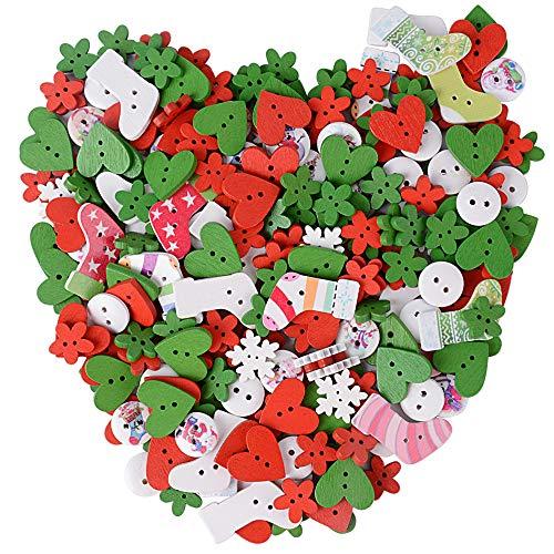 Buondac 200 pz bottoni colorati natalizi legno decorativi colori misti assortiti per decorazione di natale cucito fai da te craft