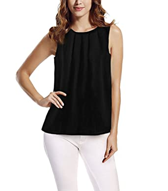 huge selection of f7d72 4264f Tkiames Damen Elegantes Chiffonbluse Ärmelloses Shirt T-shirt Sommer Bluse  Tops