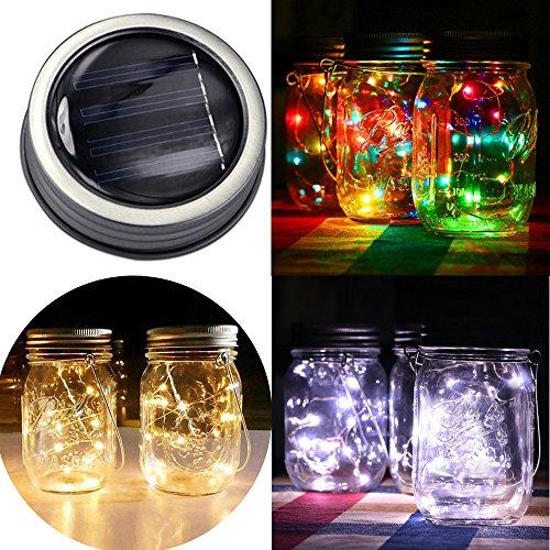 Gaddrt Led-Solar Mason Gläser Fairy Light Für Mason Jar Deckel Einfügen Farbe Ändern Garten Dekor Hängeleuchte Solarleuchte Außen Innen Glas Lampe Beleuchtung (Jars Farbe Mason)