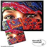 Set: 1 Fußmatte Türmatte (70x50 cm) + 1 Mauspad (23x19 cm) - Frauen, Arabische Augen