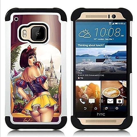 HTC One M9 /M9s / One Hima - 3 en 1 coloré lourd Imprimé Duty polycarbonate (PC) et Soft Black Gel de couverture Silicone Case (Sexy Short Skirt Lips Sensual Woman Girl)