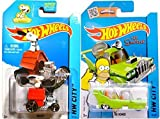 Hot Wheels Snoopy #59 & Homer #58 Peanuts & The Simpsons Tooned car set IN CASES 2015 by Hot Wheels
