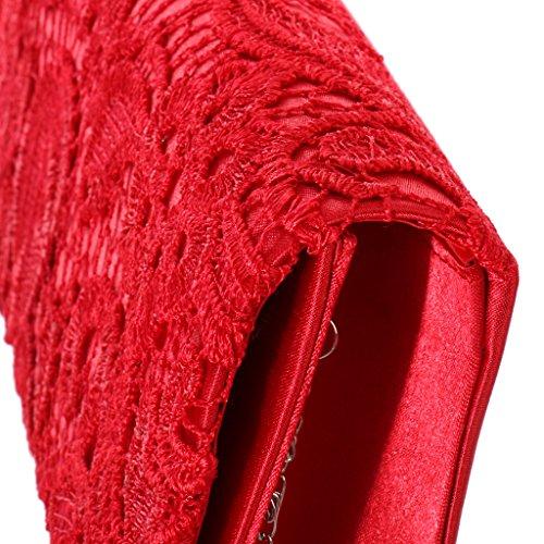Generic Donne Nuziale Raso Borsetta Spalla Sposa Pochette da Giorno Portafoglio con Catena per Nozze Festa Partito Rosso