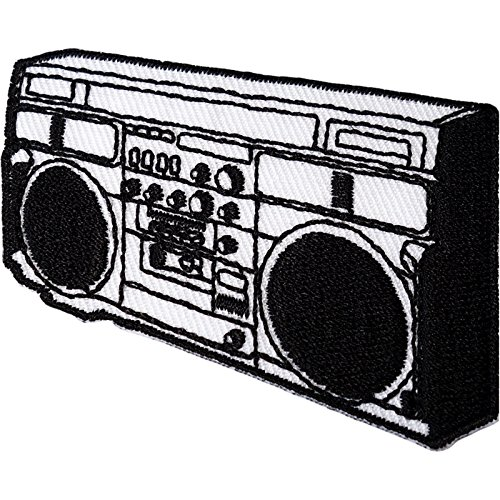 Radio Stereo Patch Eisen nähen auf gesticktes Badge 1980 Retro Musik Player Boombox - Gestickte Player