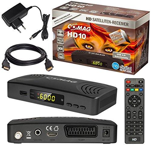 Satelliten DVB-S/S2 Sat Receiver + HDMI Kabel mit Ethernet Funktion und Vergoldeten Anschlüssen von HB DIGITAL (HD Ready, HDTV, HDMI, SCART, USB 2.0, Koaxial Ausgang, COMAG HD 10)