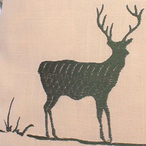 Zirbenkissen grün kariert mit Hirsch Stickerei befüllt mit Zirbenflocken aus 100% Alpen Zirbenholz in extra Inlett Größe 40x40 cm -