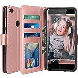 Huawei P8 Lite 2017 Hülle, LK Luxus PU Leder Brieftasche Flip Case Cover Schütz Hülle Abdeckung Ledertasche für Huawei P8 Lite 2017 (Rose Gold)