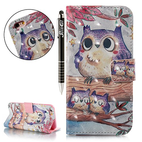 Custodia iPhone 6, iPhone 6S Cover Wallet, SainCat Custodia in Pelle Flip Cover per iPhone 6/6S, 3D Creativa Design Ultra Sottile Anti-Scratch Book Style Custodia Morbida Cover Protettiva Caso PU Leat Gufo Viola