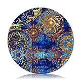 Tapis de souris rond (250 mm x 250 mm x 3 mm) de Lizimandu - Qualité supérieure - Motifs - Antidérapant bleu/fleur