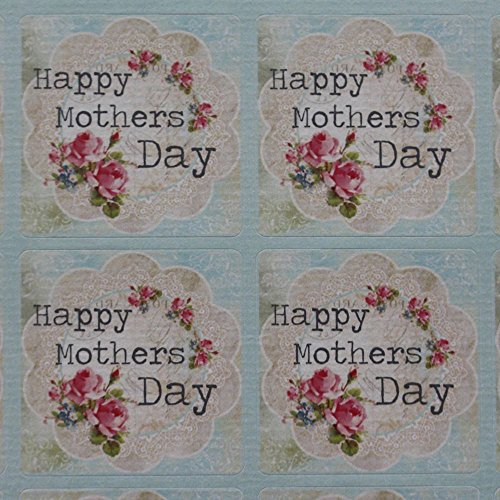 r Tabelle Happy Mothers Day – 35 Sticker Vintage Floral (Mothers Day-aufkleber)