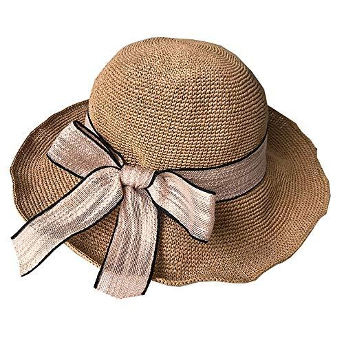 Dyong Sonnenhut Strohhut-Spitze-kleine frische Reise-Visier-Küsten-Feiertags-Hut-Strand-Hut-Frau (Color : Brown) (Spitze Kleine Hüte)