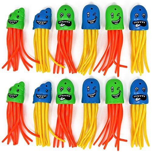 com-four® 12x Tauchspielzeug als Qualle in Verschiedenen Farben, Tauch-Set zum Tauchen Lernen für Kinder (12 Stück - Qualle)