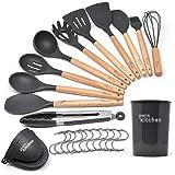 Kit de 14 ustensiles de cuisine | Ustensiles de cuisine silicone gris résistants à la chaleur | Ustensiles de cuisine bois de