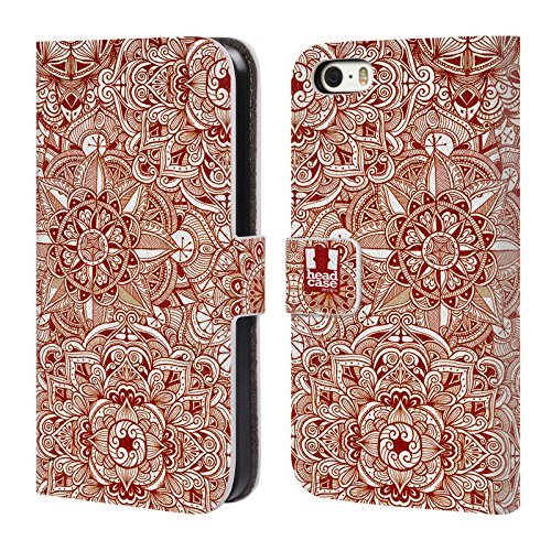 Head Case Designs Gold Mandala Doodle Brieftasche Handyhülle aus Leder für Apple iPhone 5 / 5s / SE Muster