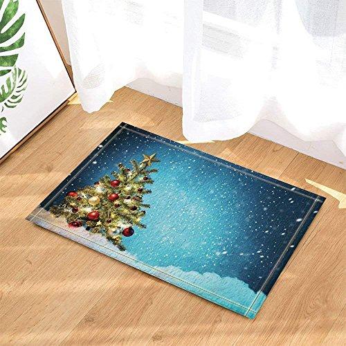 AdaCrazy Weihnachtsbaum, Schneekugel und Schneekugel mit Hintergrund, Badteppich, Fußmatte, Fußmatte, Eingangsbereich, Esszimmer, Innentür, Matt, 15,7 x 23,6 cm, Zubehör für Badezimmer