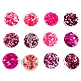 #8: eshoppee sequins sitara, 5gm x 12 box,for jewellery making art and craft diy kit, Glitter Sequins Rhinestones Beads Assorted Colours (pink family)
