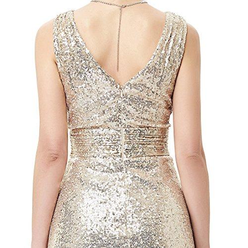Abendkleid für Damen Bodenlang sexy Hochzeit Kleid licht Gold Größe 40 KK199-1 - 6