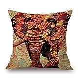 Linkla Danniol 18 X 18 Inch Vintage Retro Colorful Elephant Decorative Throw Pillow Case Cushion Cover