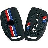 Keyzone Striped Silicone Key Cover for Hyundai Creta, Venue, i20 2021, Tucson, Elantra (4 Button Smart Key, Black)