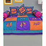 RajasthaniKart Maherab 6 Piece 144 TC Cotton Diwan Set - Blue