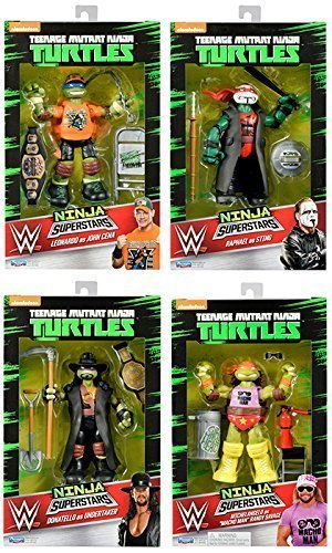 Alle 4 Komplettset Of Teenage Mutant Ninja Turtles As WWE Superstar Serie 1