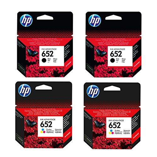 Preisvergleich Produktbild 2x Set Original HP Tintenpatrone F6V25AE F6V24AE HP 652 HP652 für HP Deskjet INK Advantage 3635 - 2x BLACK + 2x Color - Leistung: BK ca. 360 / Color ca. 200 Seiten/5%