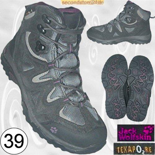Jack Wolfskin Texapore Damenschuhe Damen Schuhe Trekkingstiefel Trekkingschuhe Wanderschuhe Stiefel, schwarz-grau Gr. 39 [UK 5,5 - US 7,5 - CM 24,7, Klimamembrane]