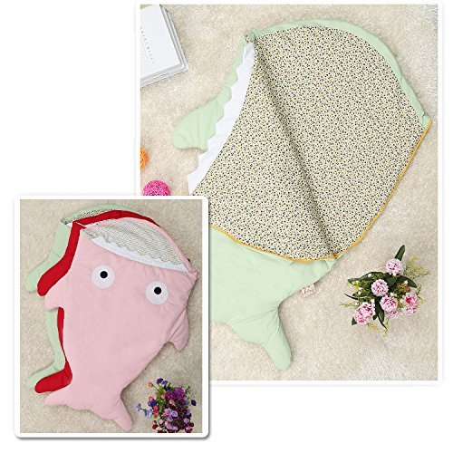 Shark Shaped Baby Sleeping Bag Cotton Swaddle Footmuff Warmer for Stroller Pushchairs Car Seat – Green