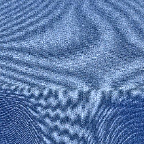 Textil Tischdecke Leinen-Optik 160x220cm oval mit FLECK-Schutz blau *abwaschbar* Farbe wählbar