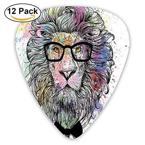 Hipster Lion mit Brille und Fliege König der Tiere Splash Style Art Plektren 12 Pack Für E-Gitarre, Akustikgitarre, Mandoline und Bass