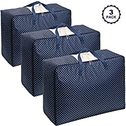 Lifewit Lot de 3 Sac de Rangement pour Couette Sac de Rangement sous lit pour Édredons Couvertures Oreillers Vestes Vêtements, 70 x 50 x 30 cm