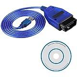 EVGATSAUTO 150CM OBD2 USB-kabelscanner, auto OBD2 409.1 USB-kabelscan-tool compatibel metAudi KKL(blauw)