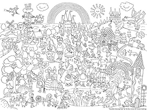 Giant Fairytale Colouring Poster for hours of colouring fun. - giant colouring poster for kids. Retell your favourite classic stories whilst colouring your favourite characters'