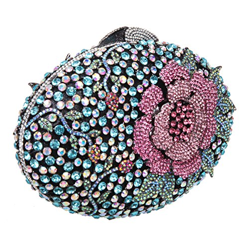 Bonjanvye Glitter Flower Clutch Purses Rhinestones and Handbags for Girls Red Mint