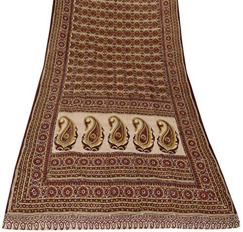 Jahrgang indische reine Seide Weiß Saree Paisley Printed Sari Craft Fabric 5 Yard (Paisley Sari)