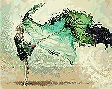 WATAKA Dipingere con i Numeri per Adulti e Bambini DIY Kit di Pittura a Olio su Tela Pre-Stampati Decorazioni per La Casa - Ballerino 16 * 20 Pollici