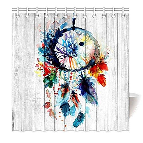 yisumei Hem pesos cortina cortina de ducha atrapasueños Multicolor Madera HD de imagen, poliéster, Weiß, 120(L) x 180(H) cm