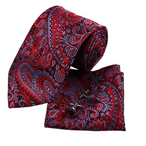 H6014 Rot Paisleys Komfort Geschenk idee Seide Krawattes Manschettenkn?pfe Taschentuch Valentines Geschenks Set 3PT Von (Erwachsene Ideen Valentine)