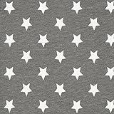 Baumwolljersey große Sterne grau — Meterware ab 0,5 m