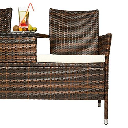 TecTake Sitzbank mit Tisch Poly Rattan Gartenbank Gartensofa inkl. Sitzkissen schwarz braun - 5